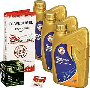 Gulf 10w 40 Öl Hiflo Ölfilter Für Yamaha Fzs 600 Fazer S 98 03 Rj02 Ölwechselset Inkl Motoröl Filter Dichtring Auto