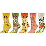 WeciBor Calcetines Estampados de las Mujeres, Mujeres Ocasionales Calcetines Divertidos Impresos de Algodón de Pintura Famosa