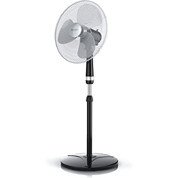 Brandson - Ventilateur sur Pied   50W   40 cm de diamètre   Hauteur Ajustable   Trois Vitesses   pales aérodynamiques   Fonction Oscillation 80°   Noir/Argent