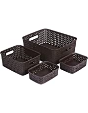 Bel Casa ROYAL Baskets for Storage Set of 4 Pieces (Medium, Small and A6 x 2), Brown