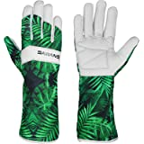 Leather Gardening Gloves Ladies Men/Women Short & Long Forearm Protection Thorn Proof Breathable Spandex Goatskin Leather Ros