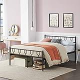 Symylife Lit Double, Cadre de lit en métal avec Lattes et tête de lit en métal, pour Matelas 140x190 cm, Cadre de lit pour Ad