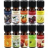 com-four® 10x Huiles parfumées - huiles essentielles pour l'aromathérapie - huiles parfumées pour Tous usages (10 pièces - Fr