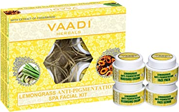 Vaadi Herbals Lemongrass Anti Pigmentation Spa Facial Kit with Cedarwood Extract, 70g