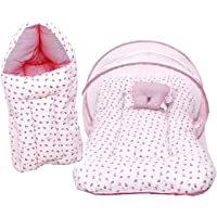 Fareto Baby Gift Pack Set Mattress with Net & Sleeping Bag(0-6 Months)(Pink H)