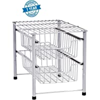 Callas Stackable 2-Tier Steel Sliding Basket Drawer Storage Organizer, Silver,