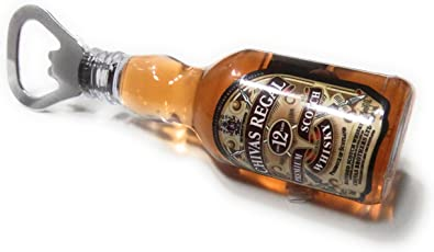 DFS Plastic 2 in 1 Whisky Shaped Bottle with Opener and Fridge Magnet (Clear, Small)