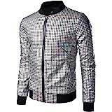 JOGAL Men's Metallic Sequins Baseball Bomber Jacket 70s Disco Party Costume
