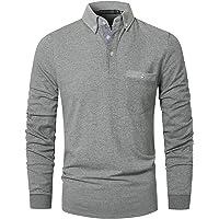 GHYUGR Polo Uomo Manica Lunga Casual Collare Contrasto con Tasca Basic Camicie Tops