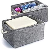 Paniers de Rangement Pliable en Tissu de Lin Coton avec Poignées Tissées, Boîte de Rangement pour Bureau Maison Jouets Organi