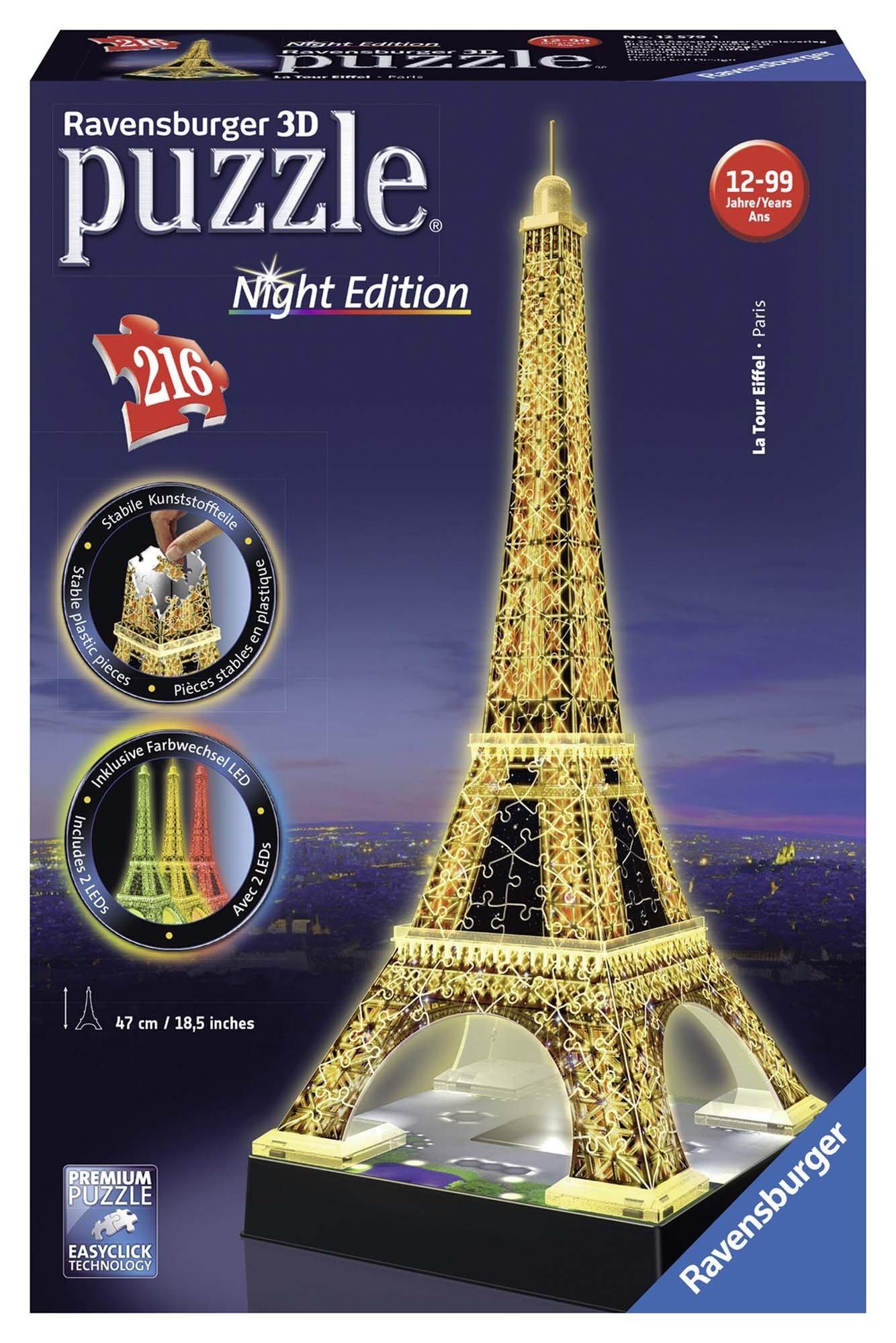 Ravensburger- Tour Torre Eiffel Puzzle 3D con LED, Edizione Speciale Notte, 216 Pezzi, Multicolore, 12579 1 spesavip