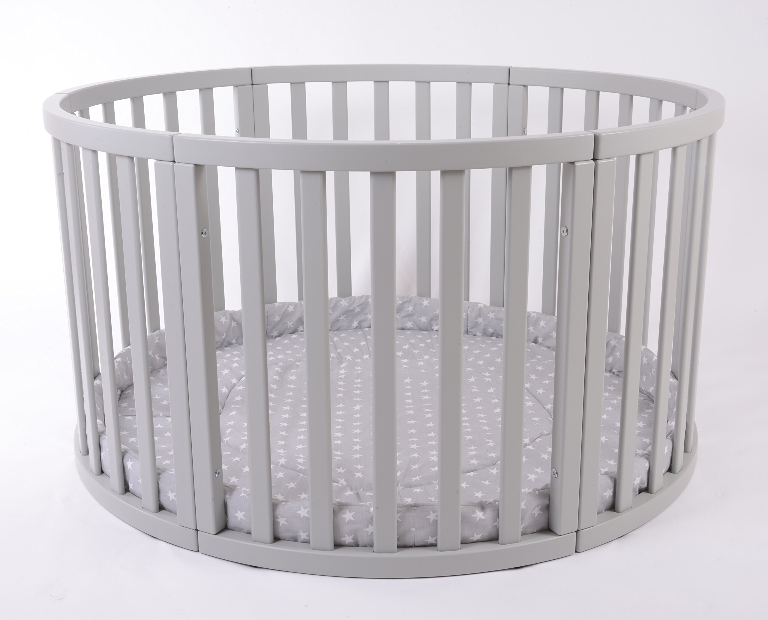 MJmark Round PLAYPEN APOLLO QUATTRO VERY LARGE Wooden play pen with play-mat SALE SALE (Grey Stars) MJmark Height 70 cm approx; Ø 120cm including Playmat made from solid hard wood (Birch) 2