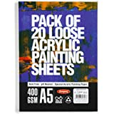Atrangi Store Anupam Professional Acrylic Painting Sheets A5 Acid Free Paper for Artists Students -400 GSM 20 Sheet (White) (
