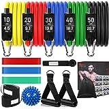 16 Pcs Bandes de Résistance Set, 150lb Elastique de Sport Musculation, Guide Exercices, 5 Tubes et 3 Bandes en 100…