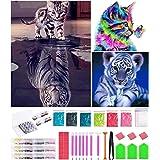 Bellatoi DIY 5D Diamante Pintura Kits, Gato y tigre Diamante Pintura por Número Kit,Rhinestone Bordado de Punto de Cruz Artes