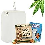 EcoYou notenmelkzak, bio, wasbaar van hennep, veganistisch, notenmelk, zak, wit, 30 x 25 cm