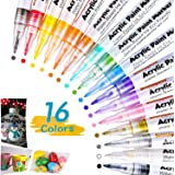 0.7mm Marqueur Peinture Acrylique, 16 Couleurs Stylos à Peinture Acrylique,Marqueur Peinture Permanent Stylos Acryliques pour
