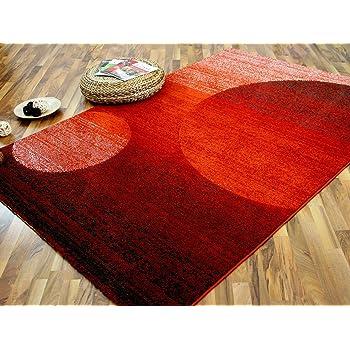 Softstar Designer Teppich Rot Orange Kreise In 3 Grossen Amazon De
