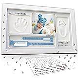 LALFOF® marco huellas bebe 7in1 Regalos originales para bebes recien nacidos con nombre personalizados,datos de nacimiento y