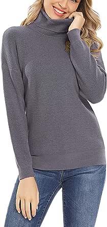 Irevial Maglione Collo Alto Donna Invernale Maglia Dolcevita Donna Manica Lunga Elegante Pullover in Maglieria Invernali Allentato Maglioncino Lavorati a Maglia Turtleneck Sweater Autunno Inverno