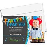 10 Personalised Boys Birthday Party Thank You Photo Cards N246 - Stars & Bunting