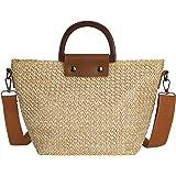 HOLEMZ Stroh Crossbody Damen Sommer Strandtasche Böhmische Vintage Handarbeit Handtasche für Reise Täglicher Gebrauch