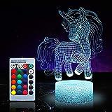 Veilleuse licorne pour enfants, jouets licorne pour fille, 16 couleurs changeantes, lampe de nuit avec télécommande 1172
