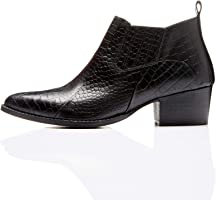 Marca Amazon - find. Croc Embellished Leather - Botines Mujer