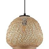 EGLO Dembleby, lampa wisząca w stylu vintage, naturalna, hygge, pleciona w koszyku, lampa do jadalni, lampa do salonu, wisząc