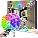 Dreamcolor Ruban Led 10m, 2x5m Bande Led 5050 Rgbic Led Ruban Bluetooth Etanche Synchroniser Rythme Musique, Couleurs Segment