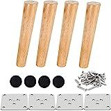 Drenky 4-delige 20cm houten meubelpoten Massief taps toelopende houten tafelpoten Schuine bankpoten Vervangende meubelpoten m