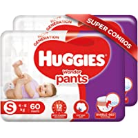 Huggies Wonder Pants, Small Size Diapers (4 - 8 kg), Combo Pack of 2, 60 Counts Per Pack, 120 Counts
