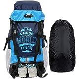 POLESTAR XPLORE 55 Ltrs Rucksack Hiking Backpack with Rain Cover (Blue)