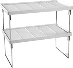 Disha Abs Plastic Folding Rack, 15.5X9.5X7.2, 2-Piece, White And Silver