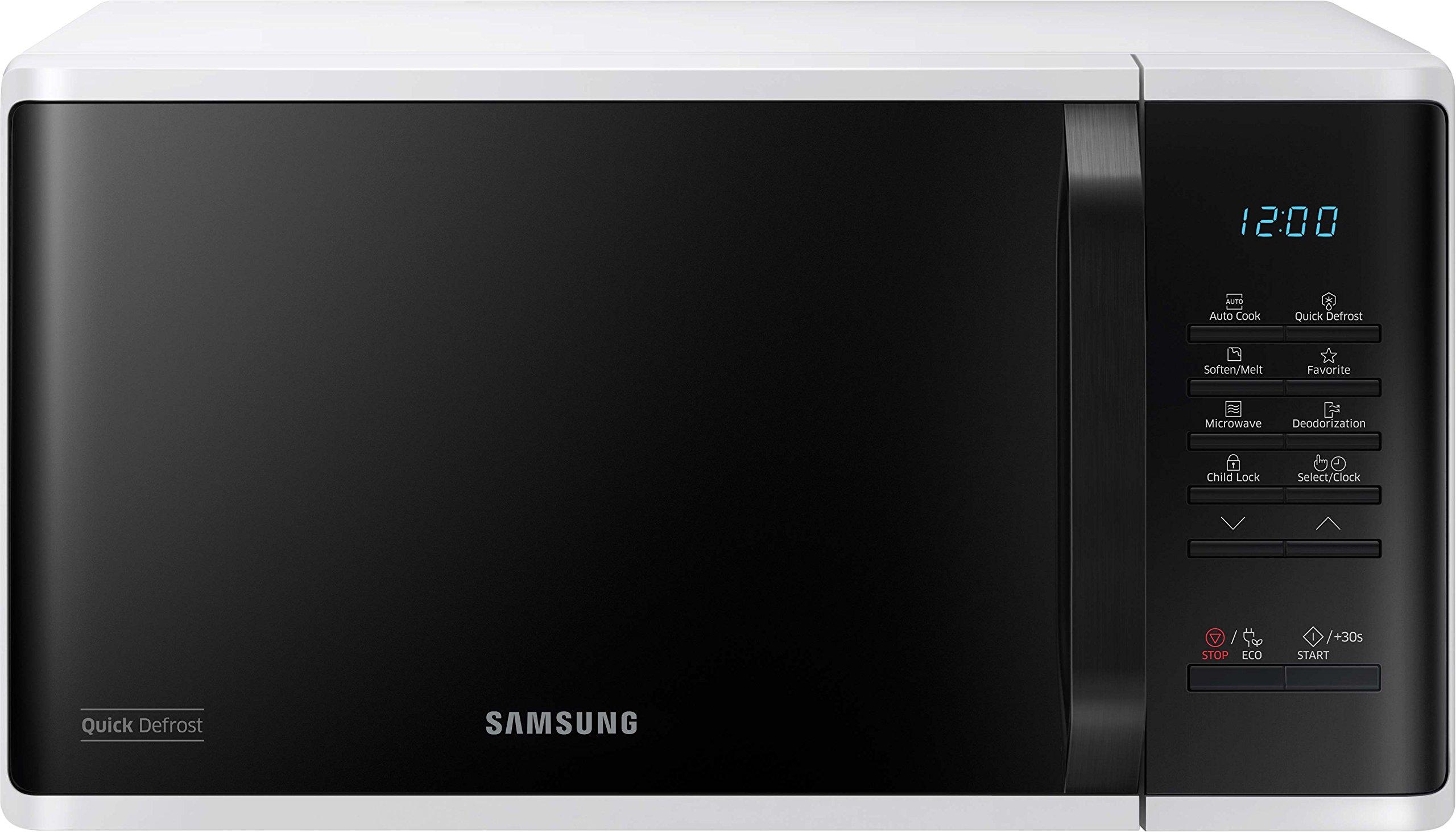 Samsung MS23K3513AW Solo-Mikrowelle, 800 Watt, 23 Liter, Quick Defrost, 29 Automatikprogramme, weiß