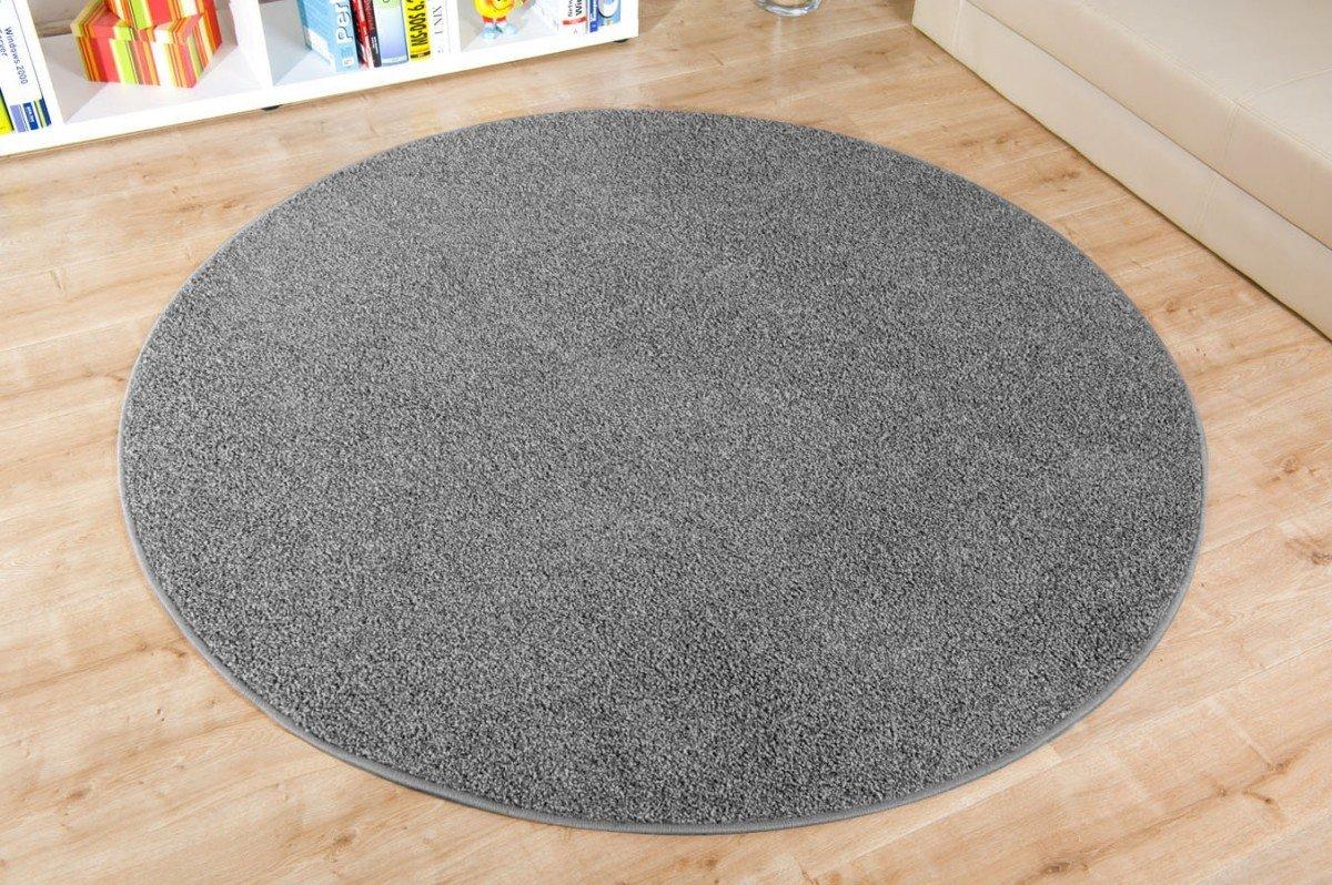 Teppich hellgrau rund  havatex: Shaggy Teppich Duke dunkel grau rund / Geprüfte Qualität ...