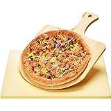 Harcas Pietra per Pizza 38cm x 30cm x 1,5 centimetro e Pale per Pizza in Bamboo. Ideale per la Cottura e per il Servizio, Bar