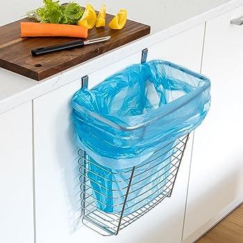 tatkraft top over the cabinet door hanging waste basket storage organizer 10l chrome plated. Black Bedroom Furniture Sets. Home Design Ideas