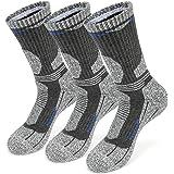 KOOOGEAR 3 Pairs Womens Socks Walking Hiking Socks for Ladies Anti Blister Breathable Cushioned Crew Socks for Sports Cycling