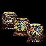 Brahmz® Set of 3 Handmade Glass Mosaic Turkish Moroccan Tea Light Candle Holders (MD7)