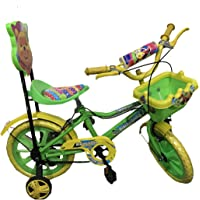 """Rising India 14"""" Kids Bicycle for 3-5 Years Aqua Seat Fan Wheel with Basket -semi Assembled"""