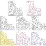 GLOBLELAND 4 pièces Coin Dentelle Métal Matrices de Découpe Fleur Dentelle Poche Découpe Matrices Gabarit de Gabarit pour Scr