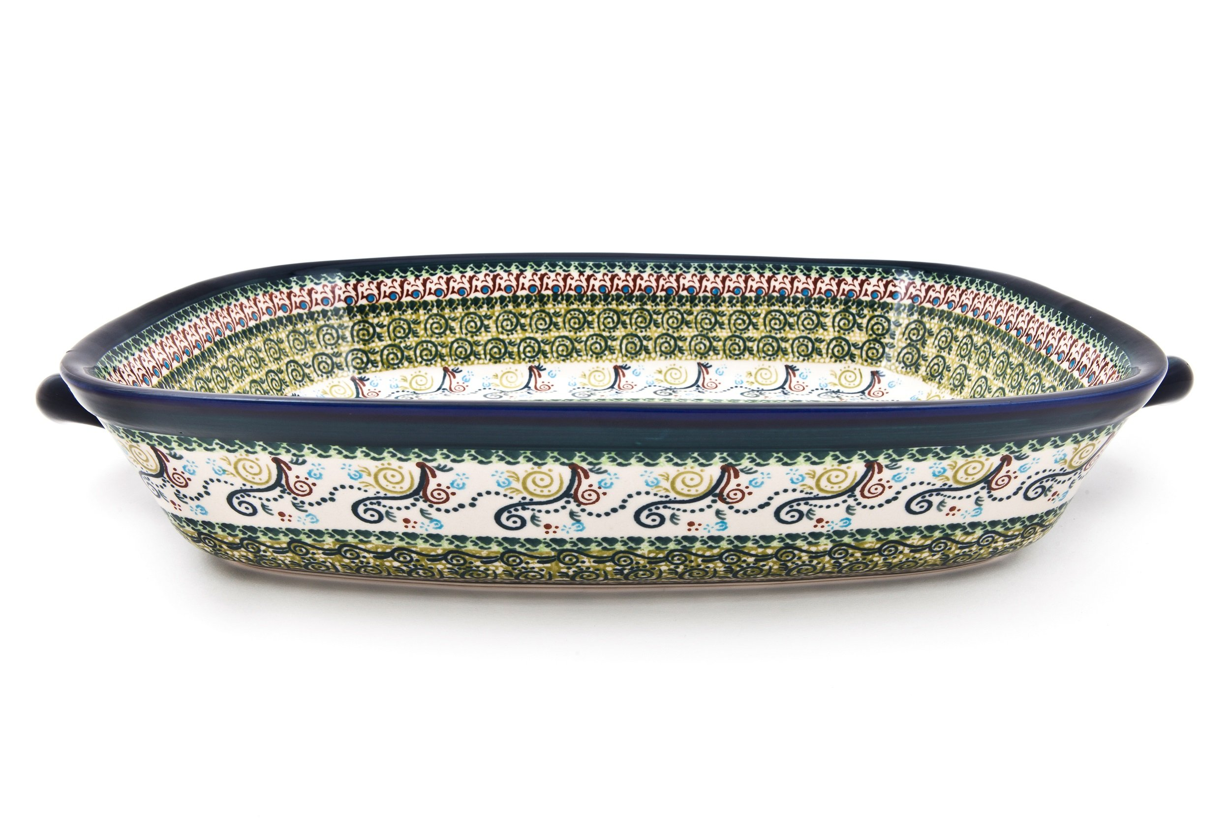Hand-Decorated Polish Pottery Rectangular Serving Bowl with High Edge and Two Henke 49x30x8,2 cm Volume 4.5 Litre Design DU163