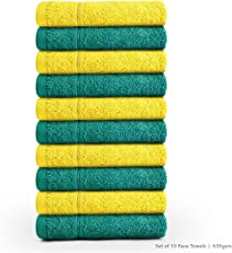 Swiss Republic Face Towels Set- Signature collection 630 GSM made with 100% ring spun extra soft cotton with quick dry and double stitch line for extra long durability - set of 10 face towels with 2 YEARS replacement GUARANTEE.