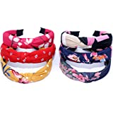 Honbon CREATIONS Hair Accessories Korean Style Solid Fabric Knot with Tape Plastic Hairband Headband for Girls and Woman 6 PC