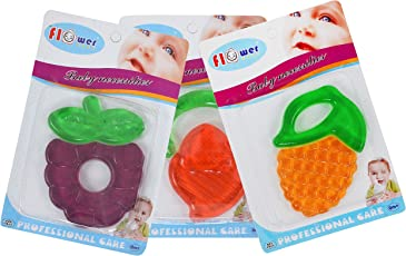 Baby Grow Soft Fruit Shape Silicone Baby Teether 3 Piece Set (D-3)