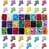 PandaHall Elite 1 Scatola 480 Pezzi Perline di Acrilico per Gioielli Collane Braccialetti Fai da Te, Croce, Colore Misto, 16x
