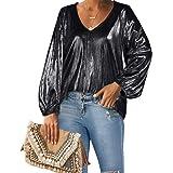 Style Dome Camicia Donna a Manica Lunga Camicetta Chiffon Blusa Elegante Maglia Scollo a V Top da Donna