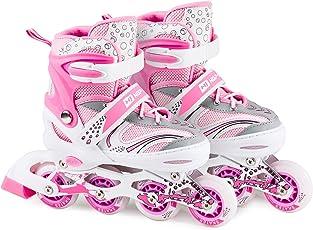 HS HOP-SPORT Hop-Sport 3in1 Inliner Inlineskates/Roller/Triskates für Kinder/Verstellbar/Farbe Weiß-Pink - S 30-33