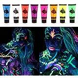 Face Paint Kit, Fesjoy 8 Tubes 10ml / 0.34oz UV Neon Face & Body Paint 8 Kleuren Neon Fluorescerende UV Blacklight Glow Safe
